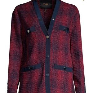 Maje plaid red tweed cardigan